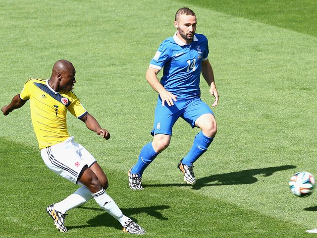Pablo Armero opens the scoring for Colombia