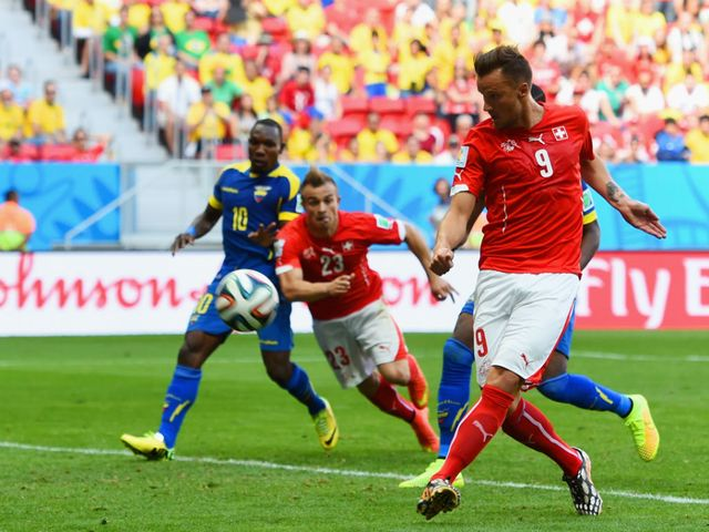 Haris Seferovic scores the winner for Switzerland against Ecuador