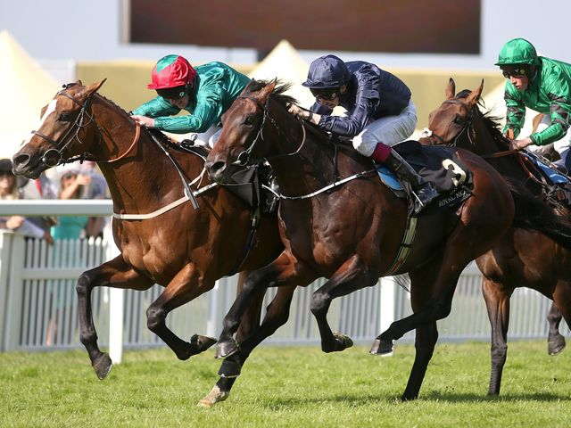 Hartnell (left) holds off Century - but has to survive a stewards' inquiry to keep the Queen's Vase