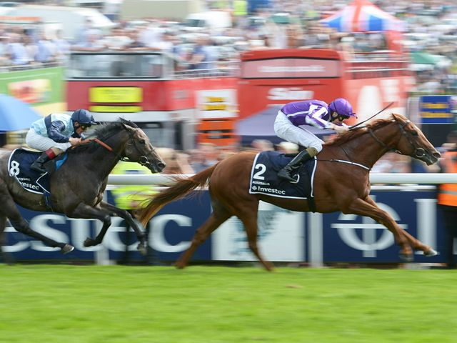 Australia ridden by Joseph O'Brien wins the Investec Derby from Kingston Hill