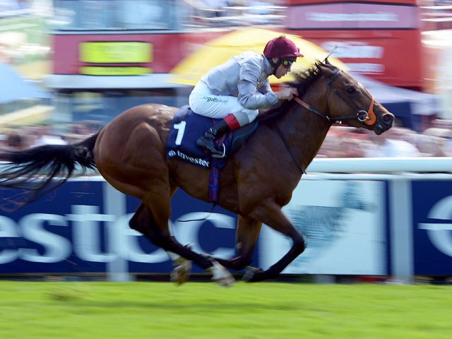 Baitha Alga wins the Investec Woodcote Stakes under Frankie Dettori