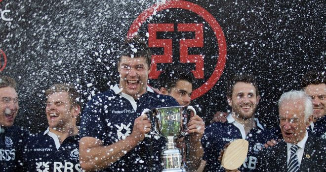 Grant Gilchrist and his Scotland team-mates celebrate victory in Cordoba