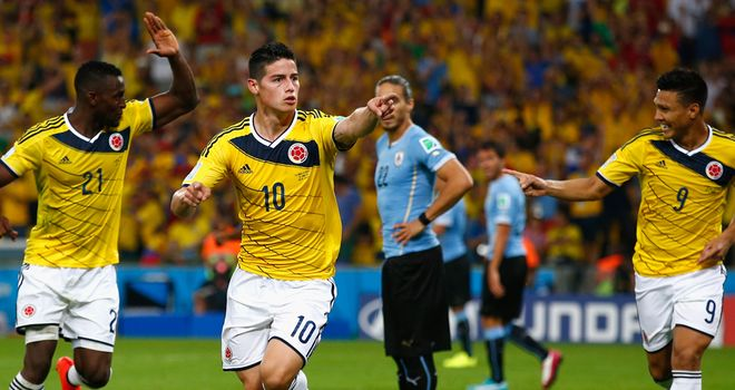 James Rodriguez: Celebrates his second goal