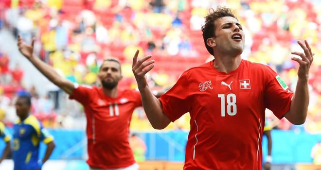Admir Mehmedi: Celebrates equaliser for Switzerland against Ecuador