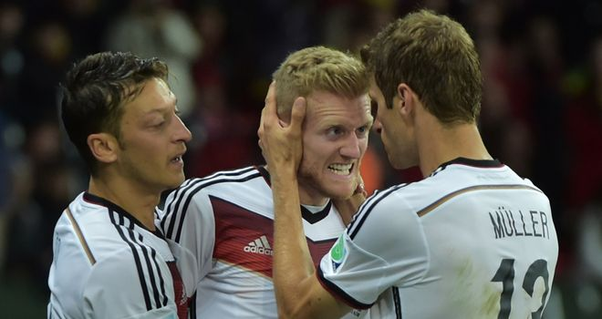 Andre Schurrle: Celebrates netting the opener in Germany's win over Algeria