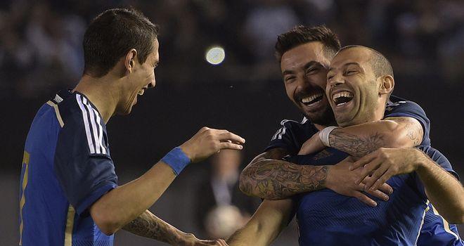 Javier Mascherano, Ezequiel Lavezzi & Angel di Maria: Argentine trio celebrate