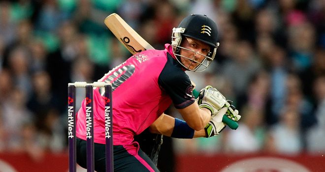 Joe Denly hit a brilliant 98 runs as Middlesex recorded a T20 Blast win at the seventh attempt