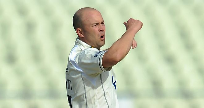 Jonathan Trott had a bowl on his return to action at Edgbaston