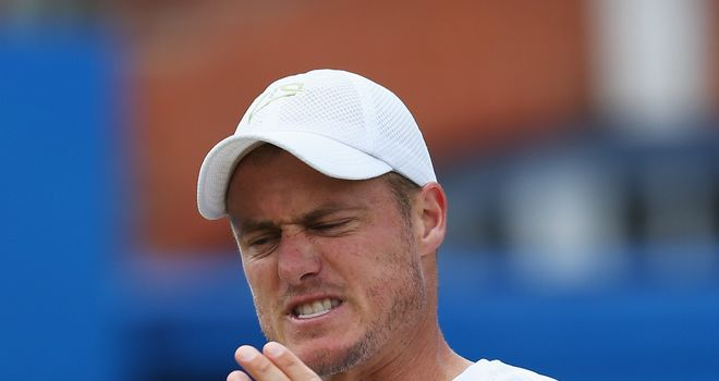 Lleyton Hewitt: Reacts during his defeat to Feliciano Lopez