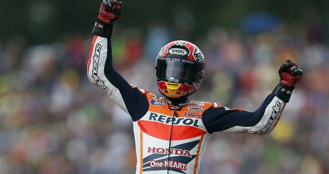 Spanish MotoGP rider Marc Marquez celebrates after he won at Assen