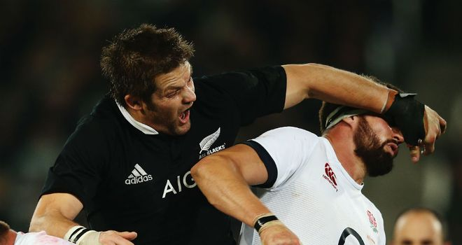 Richie McCaw tangles with Tom Wood in the second Test