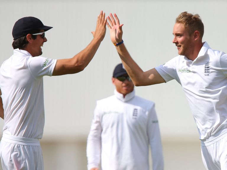 Watch Alastair Cook and Stuart Broad in action against India