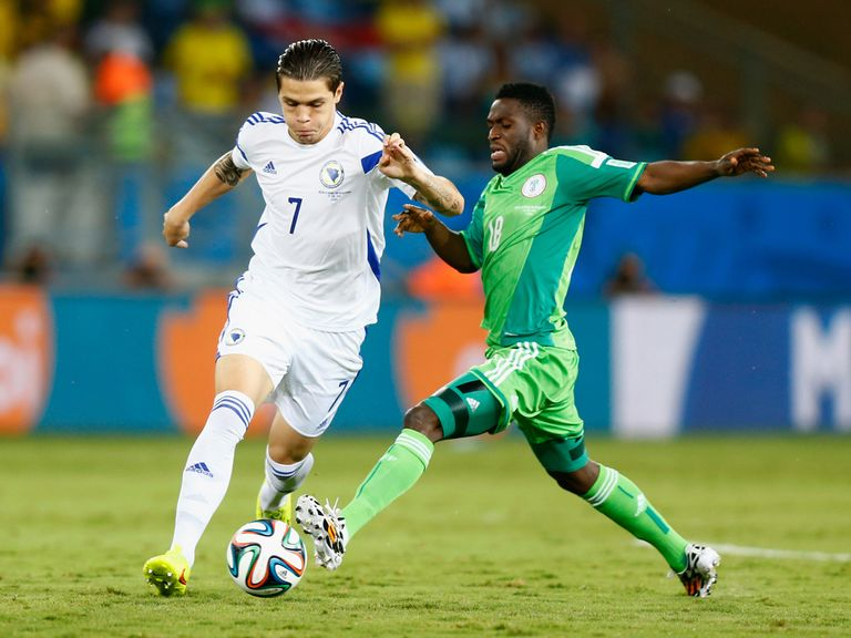 Michael Babatunde in action for Nigeria at the World Cup