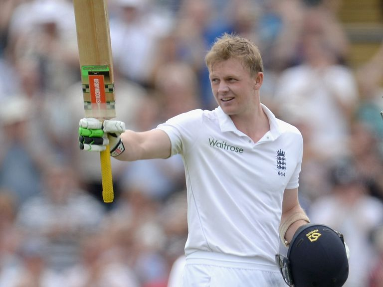 Sam Robson celebrates a maiden Test century