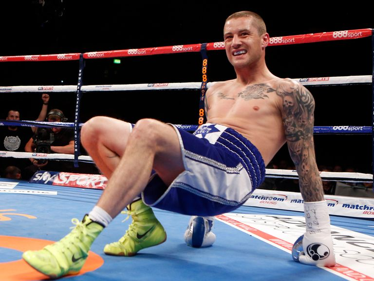 Ricky Burns climbs off the canvas early on
