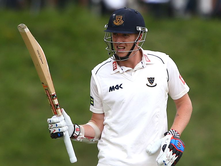 Luke Wells of Sussex celebrates his 50 against Yorkshire