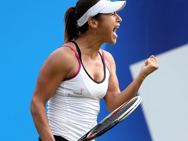 Heather Watson celebrates her win over Flavia Pennetta