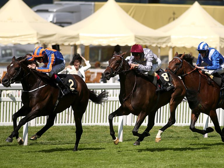 Treve (centre): Only third under Frankie Dettori