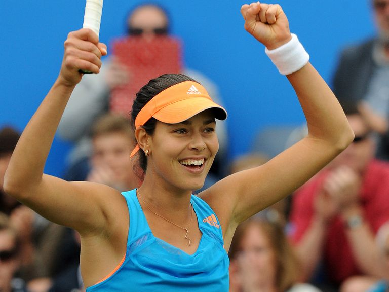 Ana Ivanovic celebrates after beating Barbora Zahlavova.