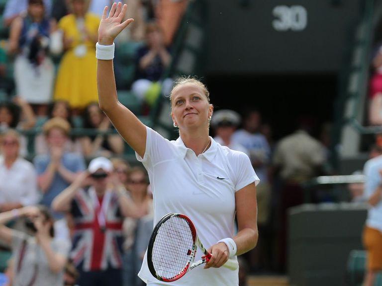 Petra Kvitova celebrates defeating Mona Barthel