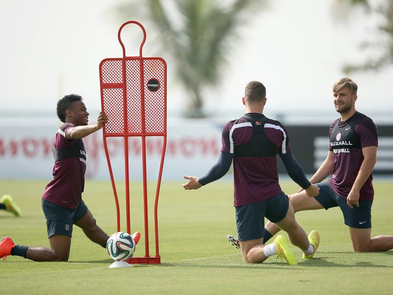 Raheem Sterling, Ross Barkley and Luke Shaw at England training