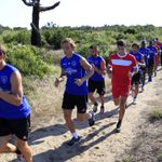 Bastia players pictured on a pre-season training run