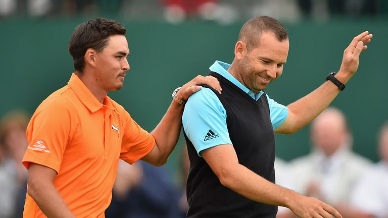 Rickie Fowler and Sergio Garcia: Shared second place at Hoylake