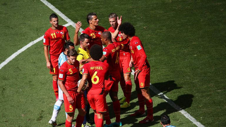 Hands in the air: Belgium were picked apart by Argentina
