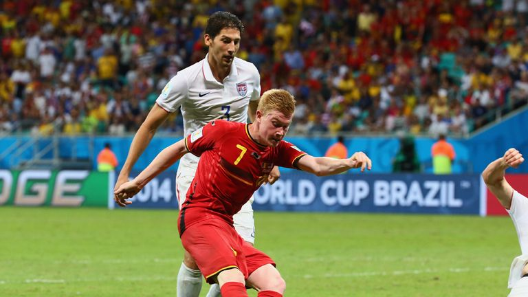 Kevin de Bruyne broke the deadlock for Belgium after superb work from Romelu Lukaku