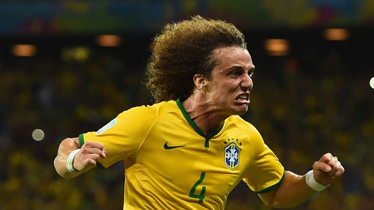 David Luiz: Celebrates his stunning goal against Colombia