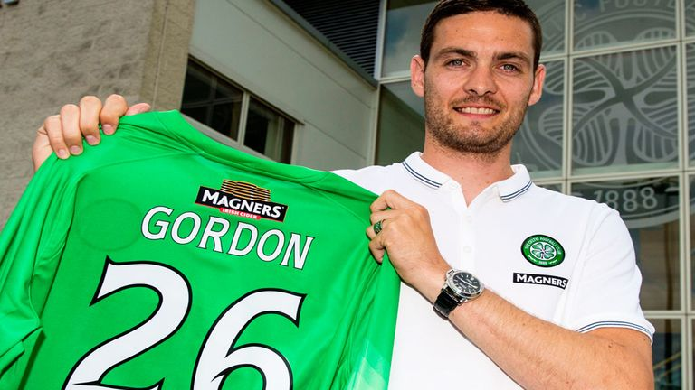 Craig Gordon: Shows off his No 26 top after signing two-year deal with Scottish champions