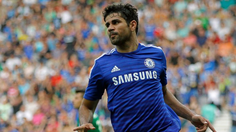 Diego Costa: Celebrates after equalising for Chelsea