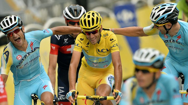 Vincenzo Nibali is congratulated on his triumph by team-mates