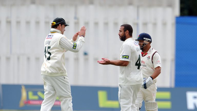 Andre Adams: Notts seamer celebrates the wicket of Ashwell Prince at Aigburth