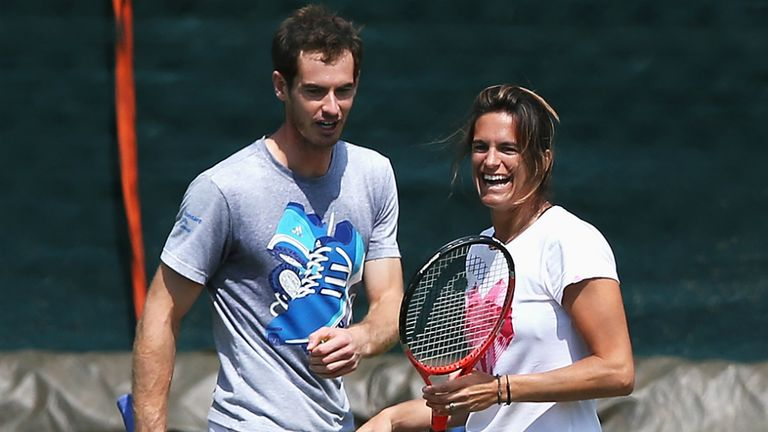 Andy Murray and Amelie Mauresmo on the practice courts