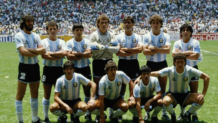 Not just a one-man team: Argentina line up ahead of the 1986 World Cup final in Mexico