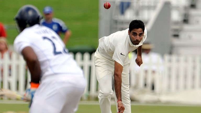 India's Bhuvneshwar Kumar bowling in the warm-up game against Derbyshire