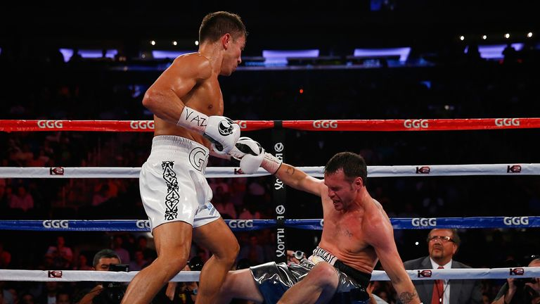 Gennady Golovkin puts down Daniel Geale in the third round