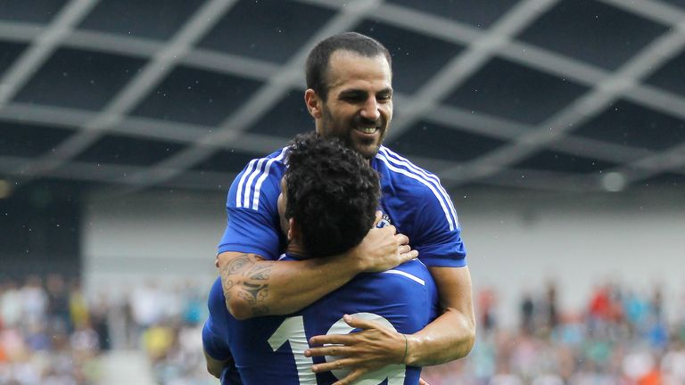 Costa: Celebrates goal with Fabregas