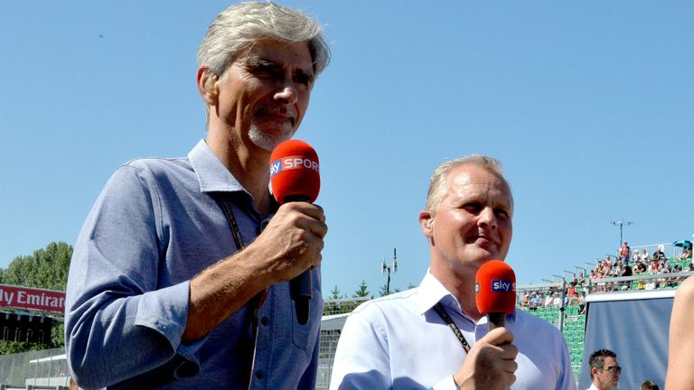 Sky F1's Damon Hill and Johnny Herbert