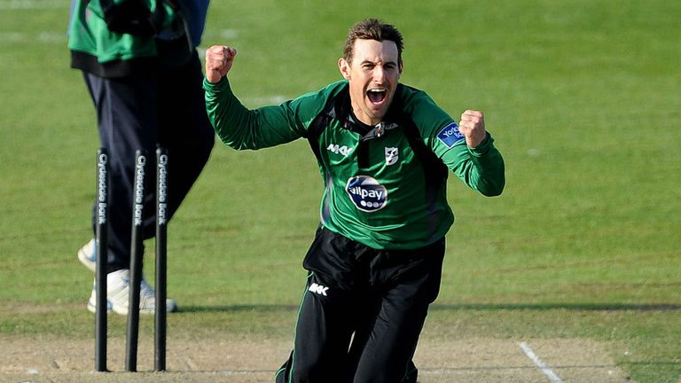 Daryl Mitchell of Worcestershire celebrates after claiming his maiden five-wicket haul in any format