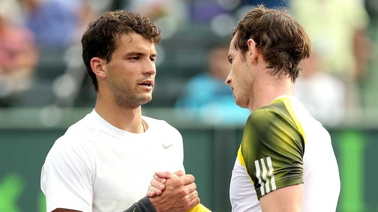 Grigor Dimitrov and Andy Murray at the 2013 Sony Open