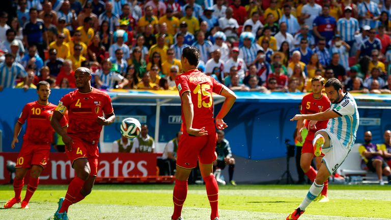 Gonzalo Higuain lashes home the only goal of the game against Belgium