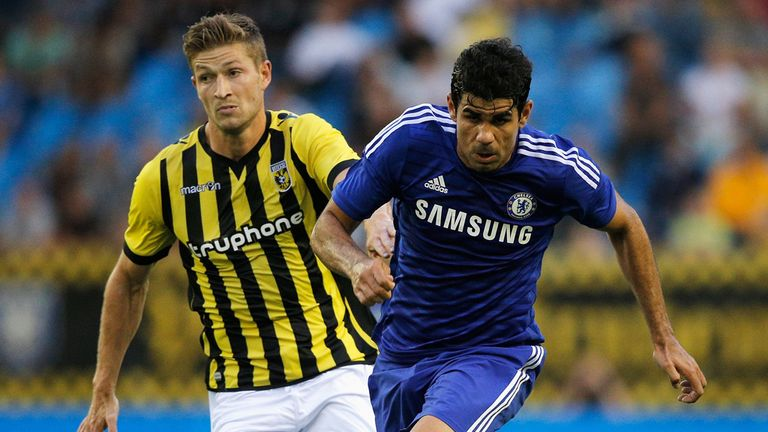 Diego Costa gets past Jan-Arie van der Heijden of Vitesse during the pre-season friendly