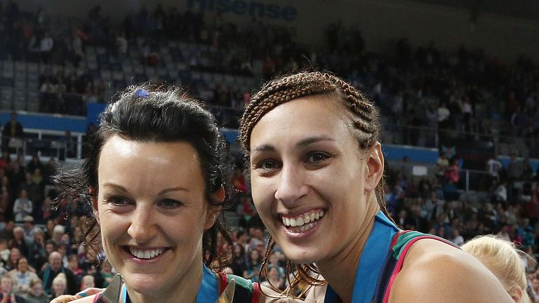 Vixens: England Goal Keeper Geva Mentor (right) celebrates winning the ANZ Championship title