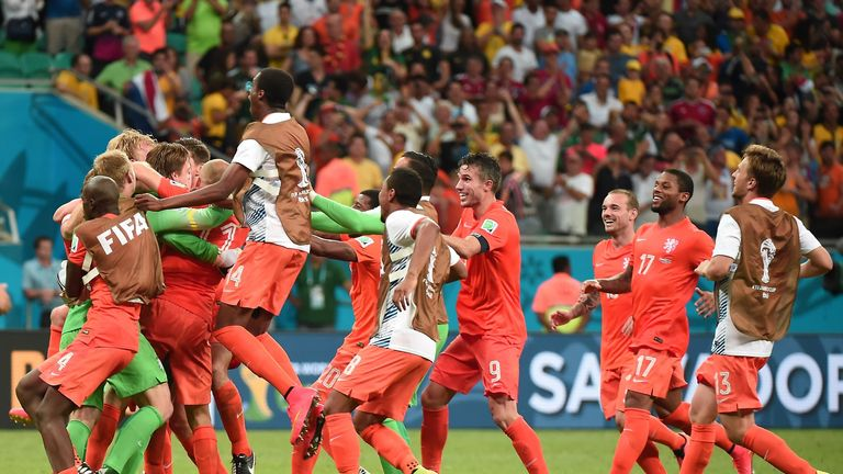 Holland players celebrate penalty shootout win v Costa Rica, World Cup quarter-final