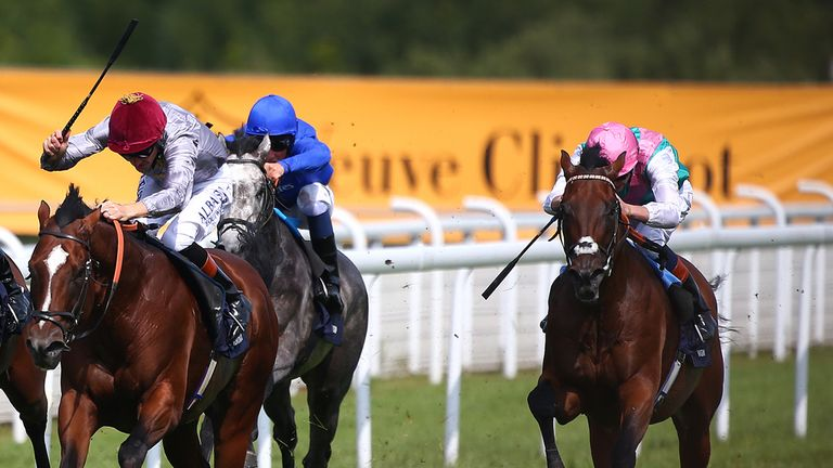 Kingman (far right): Took the Sussex Stakes with a fine burst of speed