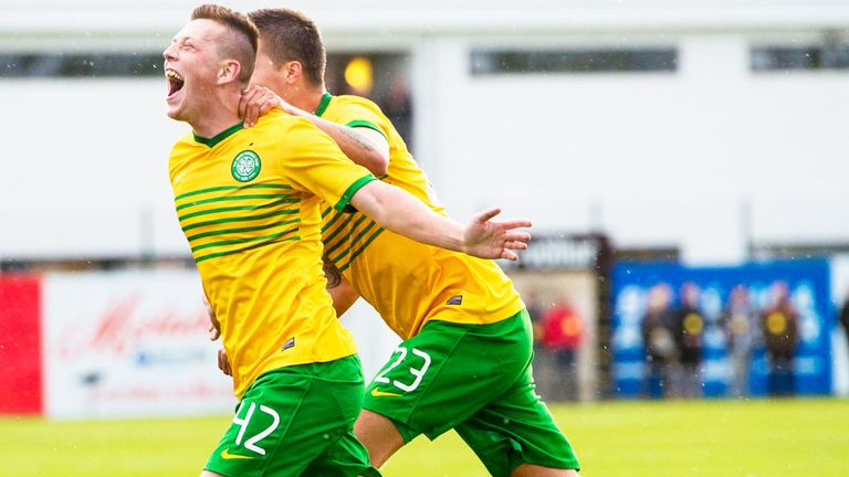 Callum McGregor: Celtic midfielder celebrates his goal against KR Reykjavik