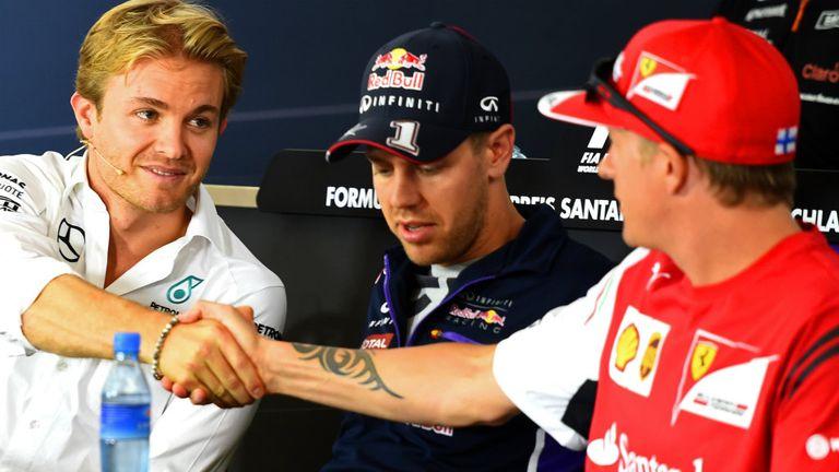 Nico Rosberg greets Kimi Raikkonen at Hockenheim