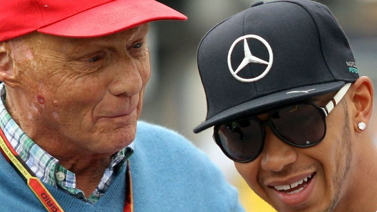 Niki Lauda and Lewis Hamilton